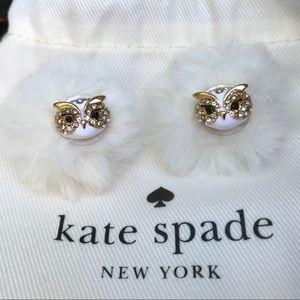 Kate Spade Sparkling Fuzzy Owl studded Earrings